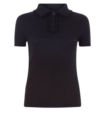 Black Frill Trim Ribbed Polo Shirt New Look