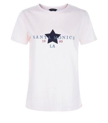 Cream Santa Monica Print T-Shirt New Look