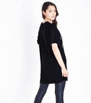 Black More Glitter Beaded Slogan Longline T-Shirt New Look