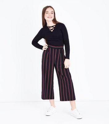 Teens Black Double Lattice Long Sleeve Top New Look