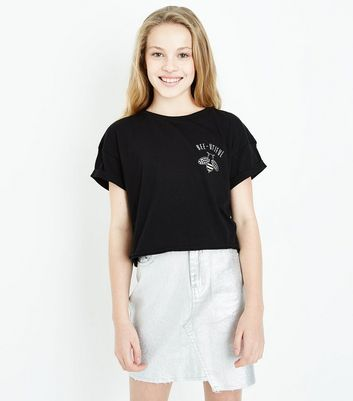 Teens Black Bee-Utiful Diamante Slogan T-Shirt New Look