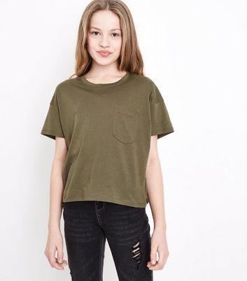 Teens Khaki Pocket Front T-Shirt New Look