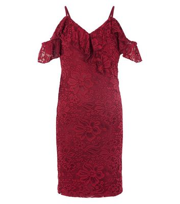 Teens Burgundy Lace Cold Shoulder Bodycon Dress New Look