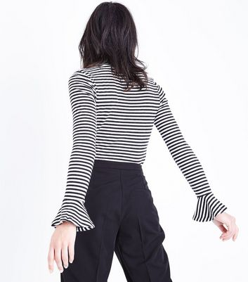 Black Stripe Frill Sleeve Cuff Top New Look