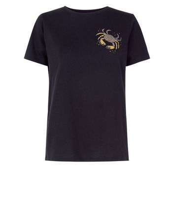 Black Crab Embellished T-Shirt New Look