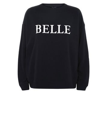 Black Beaded Belle Print Sweatshirt New Look