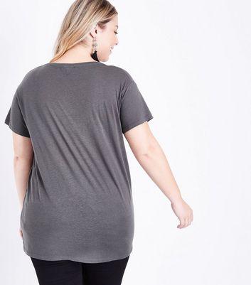 Curves Dark Grey Bonjour Print T-Shirt New Look