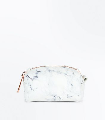 White Marble Mini Pouch New Look