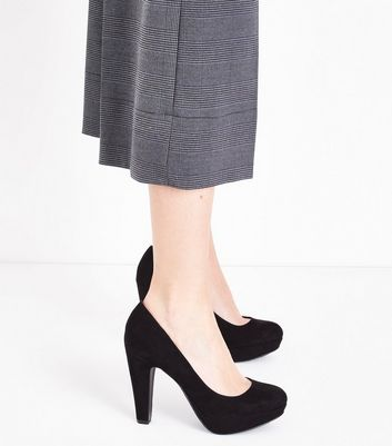Black Suedette Round Toe Platform Courts New Look