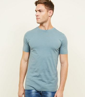 Blue Short Sleeve Muscle Fit T-Shirt