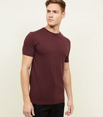 Burgundy Short Sleeve Muscle Fit T-Shirt