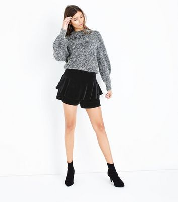 Cameo Rose Black Velvet Frill Skort New Look