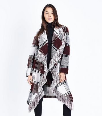 Black Check Fringed Waterfall Coat New Look