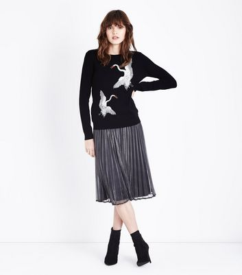 QED Black Bird Embellished Sequin Jumper New Look