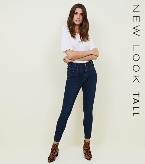 b3da7e7b25f ... Tall Blue Rinse Wash Button Front High Waist Skinny Jeans ...
