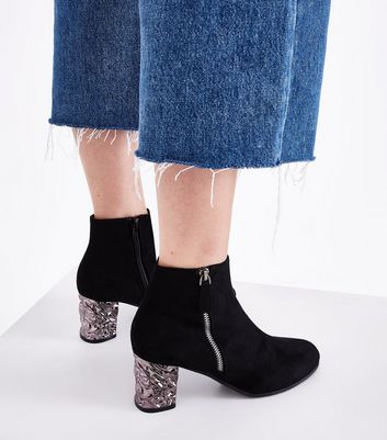 Black Suedette Textured Metal Block Heel Boot New Look