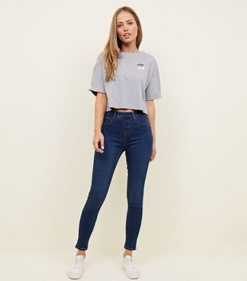 Tall – Blaue, supersofte Emilee-Jeggings mit Rinse-Waschung