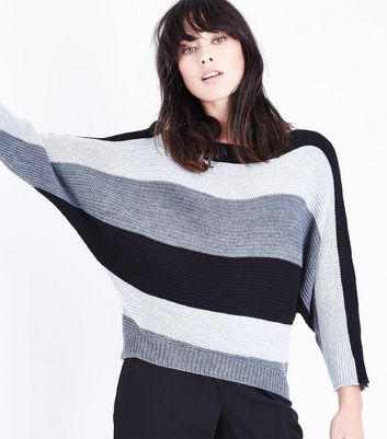QED Grey Stripe Batwing Sleeve Jumper New Look
