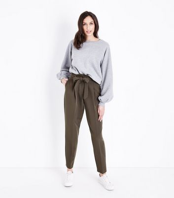 Tall Khaki Paperbag Waist Trousers