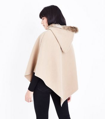 Mela Tan Zip Front Hooded Poncho New Look