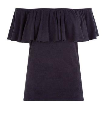 Mela Black Suedette Bardot Neck Top New Look