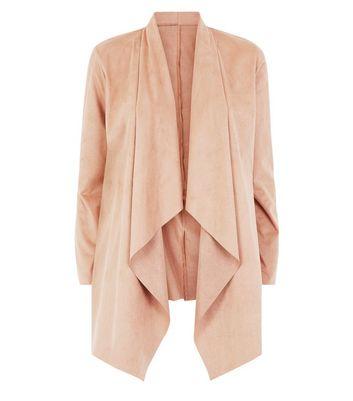 Mela Tan Suedette Waterfall Jacket New Look