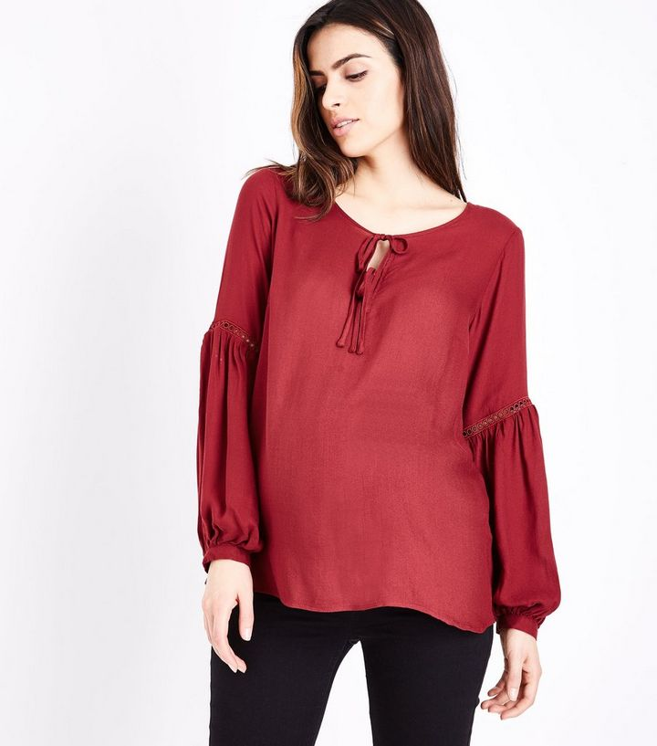 9517fc1e14896 Maternity Burgundy Lace Trim Tie Neck Blouse | New Look
