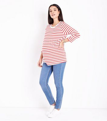 Maternity Red Stripe 3/4 Sleeve T-Shirt New Look