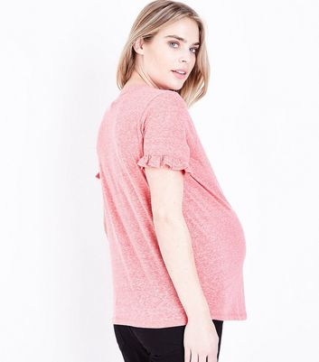 Maternity Red Frill Sleeve T-Shirt New Look