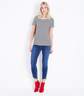 Maternity Blue Stripe Crew Neck T-Shirt New Look