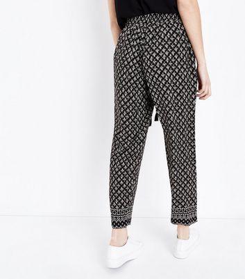 Petite Black Tile Print Tassel Tie Joggers New Look