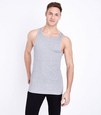 Grey Marl Muscle Fit Ribbed Vest