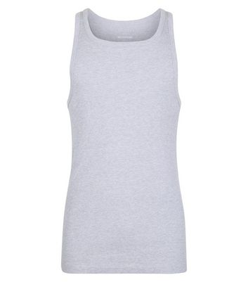 Grey Marl Muscle Fit Ribbed Vest New Look