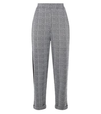 Cameo Rose Grey Check Contrast Stripe Trousers New Look