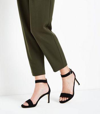 Black Suedette Circle Buckle Stiletto Sandals New Look