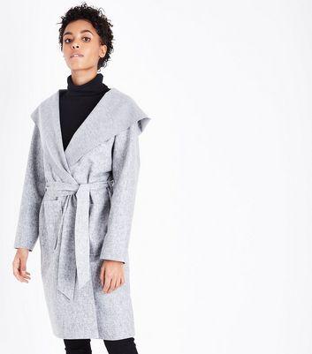 Cameo Rose Grey Hooded Longline Jacket New Look
