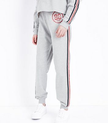 Teens Grey Side Tape Stripe Logo Joggers New Look