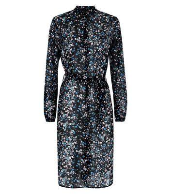 Tall Black Ditsy Floral Chiffon Longline Shirt New Look