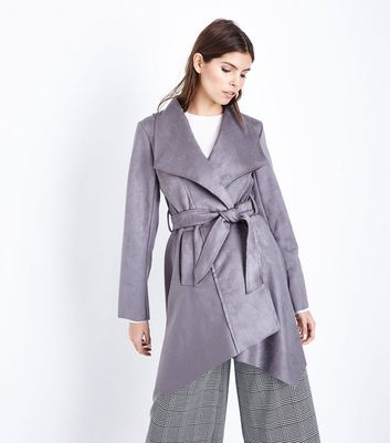Mela Grey Suedette Belted Mac New Look