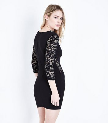 Mela Black Embellished Neck Bodycon Lace Dress New Look
