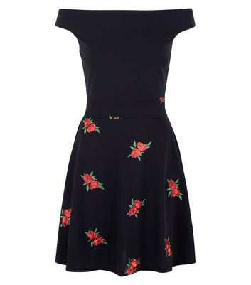 Mela Black Floral Embroidered Dress New Look