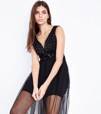Mela Black Mesh Overlay Maxi Dress New Look