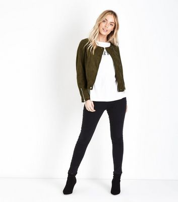 Petite Khaki Suedette Collarless Biker Jacket New Look