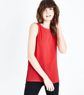 Red Crepe Broderie Trim Vest New Look