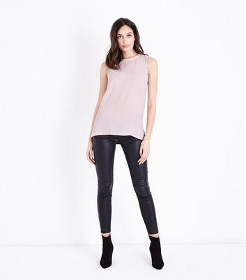 Pink Crepe Broderie Trim Vest New Look