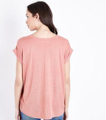 Pink Woven Jersey T-Shirt New Look