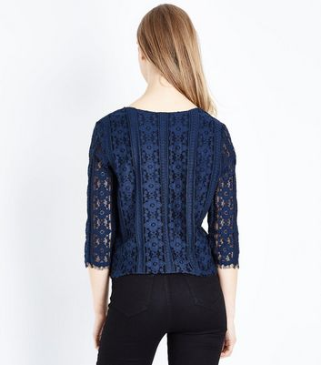 Navy Scallop Hem Lace Top New Look