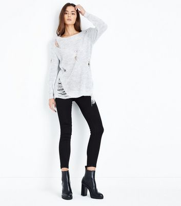 Cameo Rose Pale Grey Distressed Ladder Knit Jumper New Look