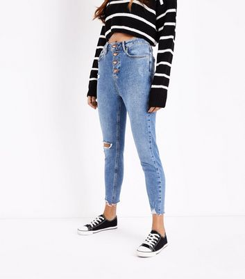 Petite Blue 4 Button Ripped Skinny Jeans New Look