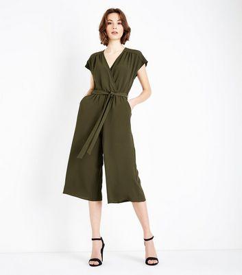 Khaki Wrap Front Culotte Jumpsuit New Look